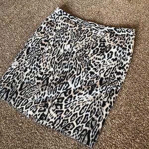 Leopard Print Knee Length Pencil Skirt